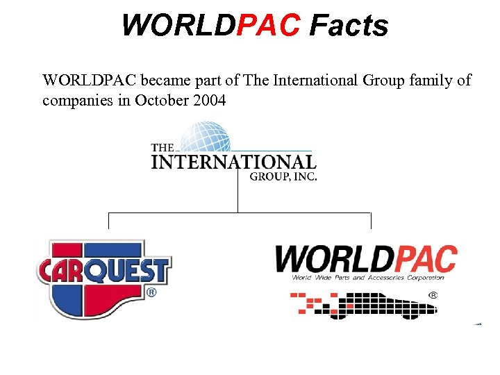 WORLDPAC Facts WORLDPAC became part of The International Group family of companies in October