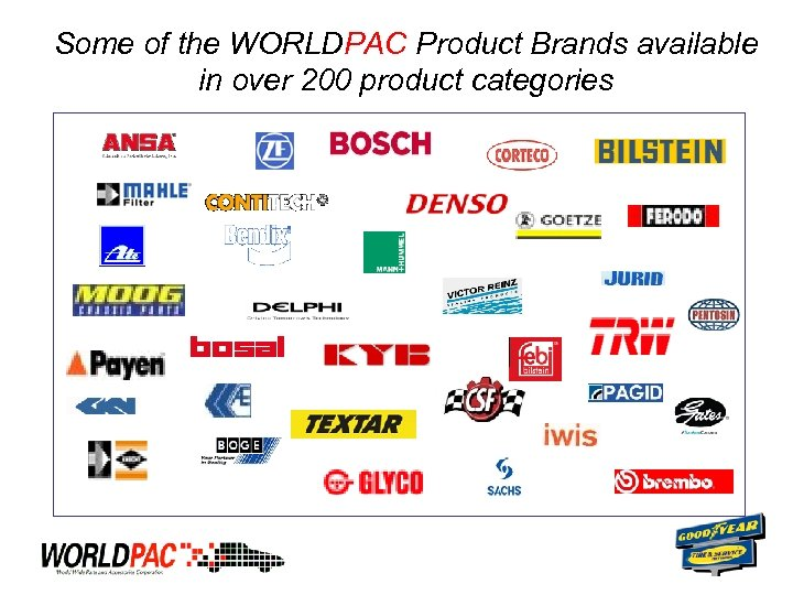 Some of the WORLDPAC Product Brands available in over 200 product categories