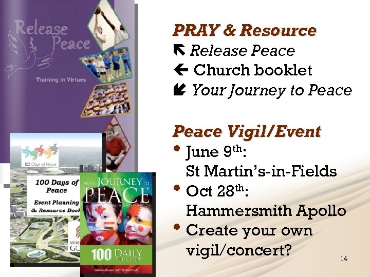 PRAY & Resource Release Peace Church booklet Your Journey to Peace Vigil/Event • June