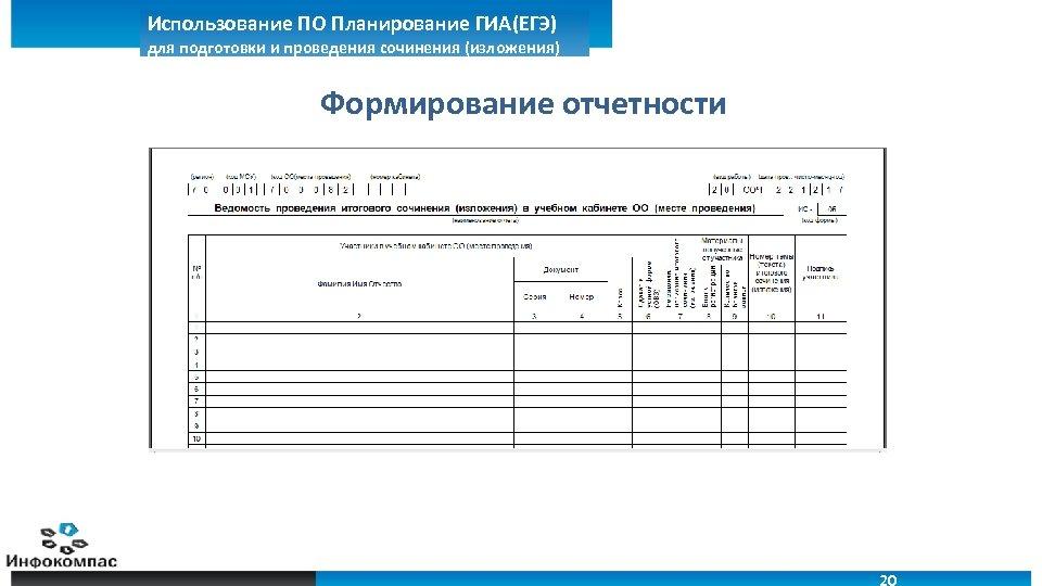 Использование ПО Планирование ГИА(ЕГЭ) для подготовки и проведения сочинения (изложения) Формирование отчетности 20