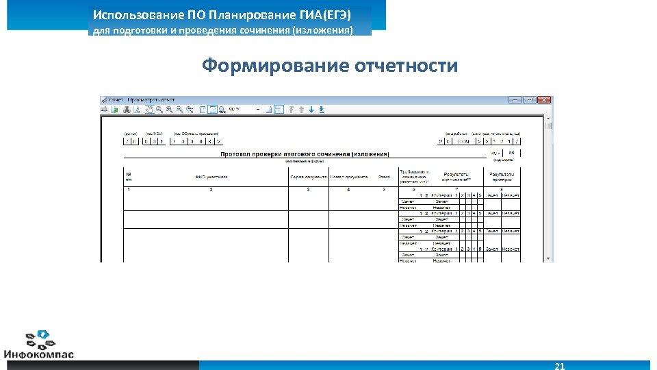 Использование ПО Планирование ГИА(ЕГЭ) для подготовки и проведения сочинения (изложения) Формирование отчетности 21