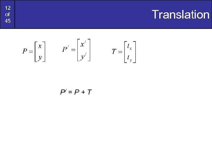 12 of 45 Translation P/ = P + T