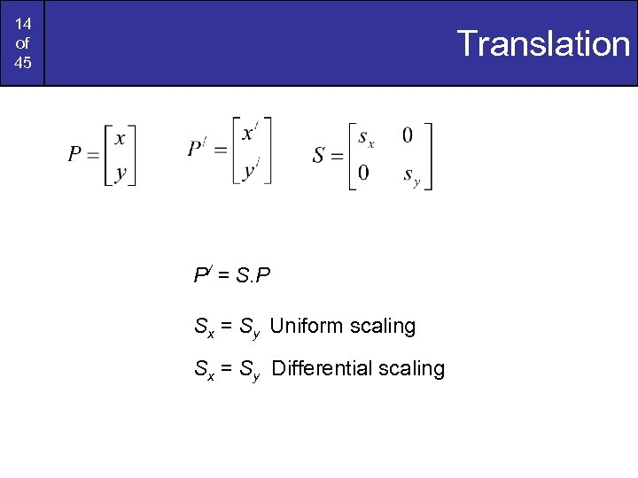 14 of 45 Translation P/ = S. P Sx = Sy Uniform scaling Sx