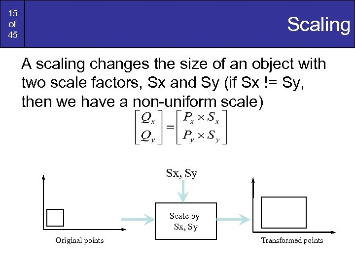 15 of 45 Scaling A scaling changes the size of an object with two