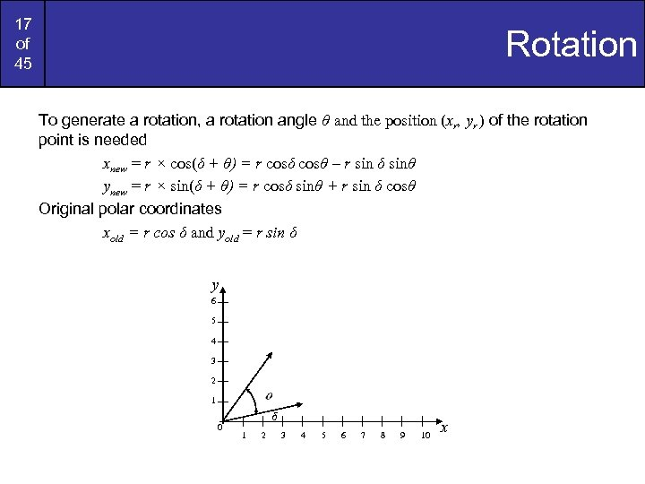 17 of 45 Rotation To generate a rotation, a rotation angle θ and the