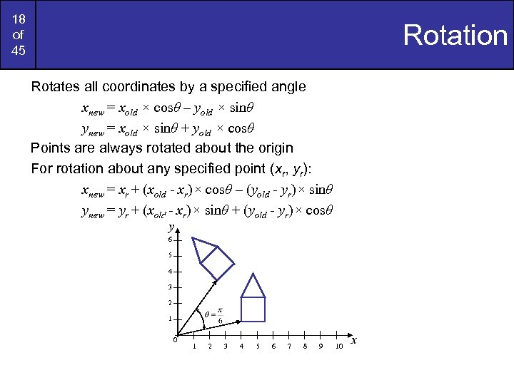 18 of 45 Rotation Rotates all coordinates by a specified angle xnew = xold