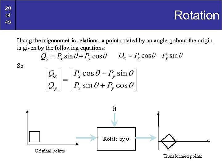 20 of 45 Rotation Using the trigonometric relations, a point rotated by an angle
