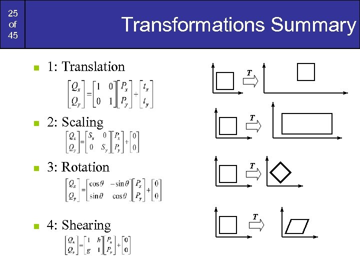 25 of 45 Transformations Summary n 1: Translation n 2: Scaling T n 3: