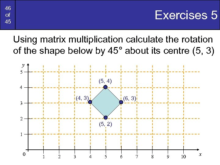 46 of 45 Exercises 5 Using matrix multiplication calculate the rotation of the shape