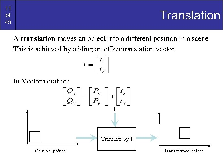 11 of 45 Translation A translation moves an object into a different position in