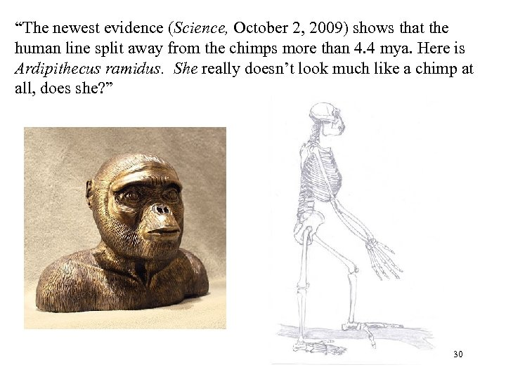 """""""The newest evidence (Science, October 2, 2009) shows that the human line split away"""
