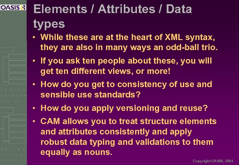 Elements / Attributes / Data types • While these are at the heart of