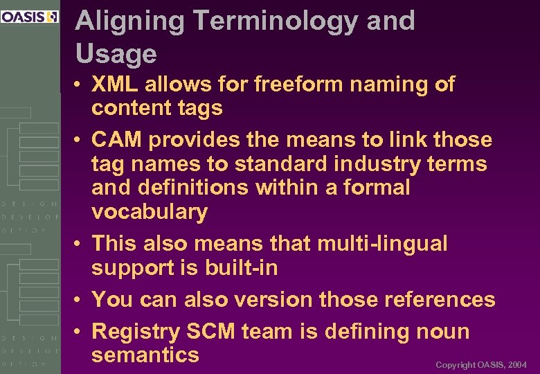 Aligning Terminology and Usage • XML allows for freeform naming of content tags •