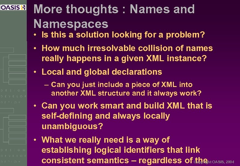 More thoughts : Names and Namespaces • Is this a solution looking for a