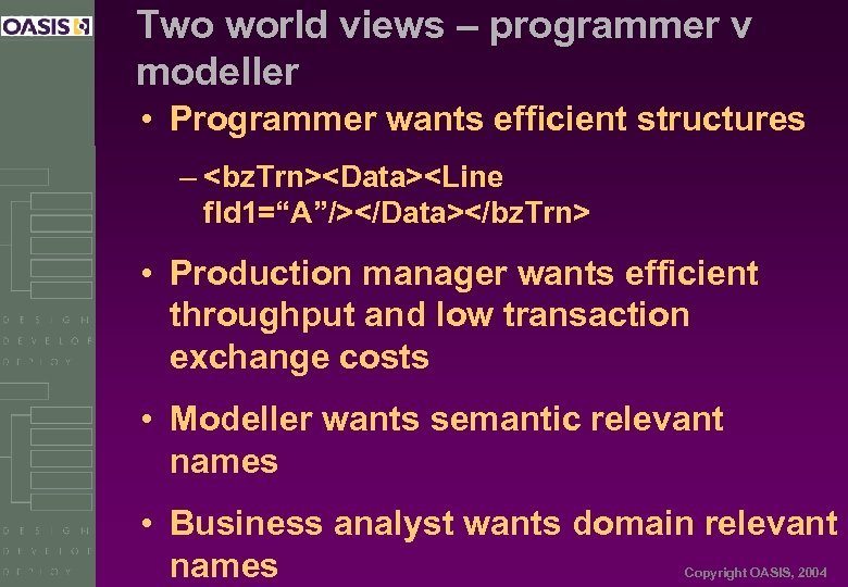 Two world views – programmer v modeller • Programmer wants efficient structures – <bz.