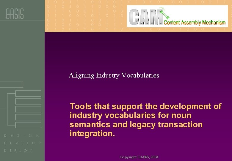 Aligning Industry Vocabularies Tools that support the development of industry vocabularies for noun semantics