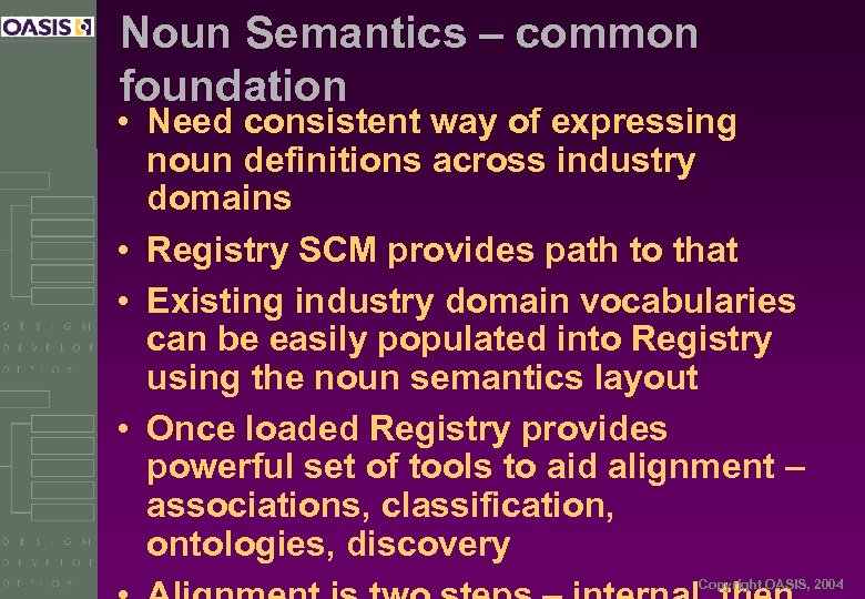 Noun Semantics – common foundation • Need consistent way of expressing noun definitions across