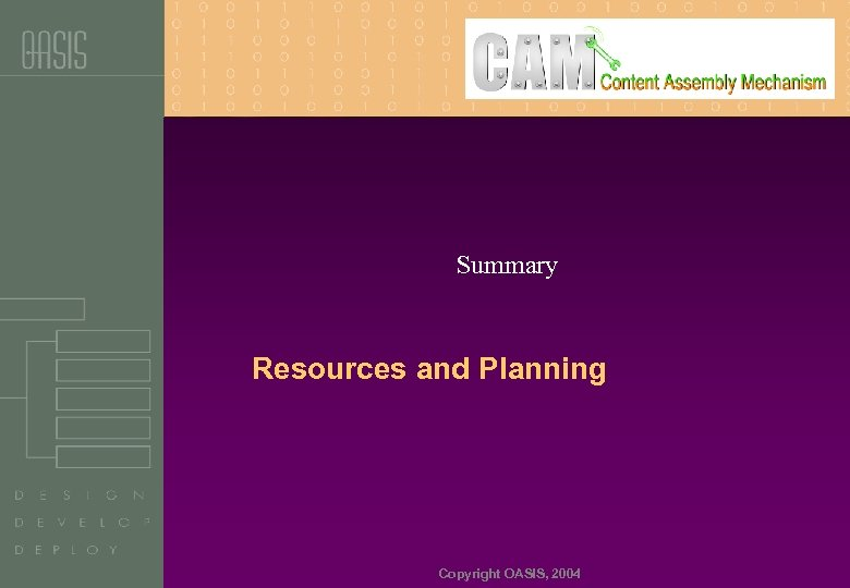 Summary Resources and Planning Copyright OASIS, 2004