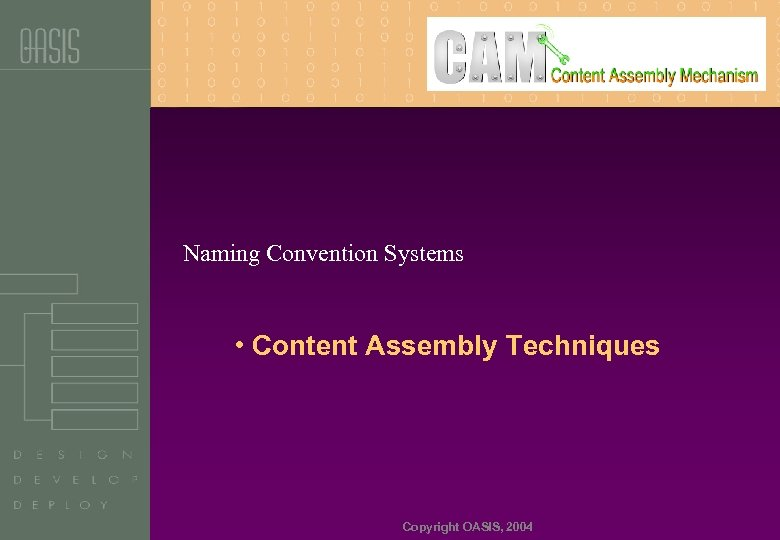 Naming Convention Systems • Content Assembly Techniques Copyright OASIS, 2004
