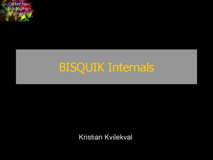 Center for Bioimaging Informatics BISQUIK Internals Kristian Kvilekval