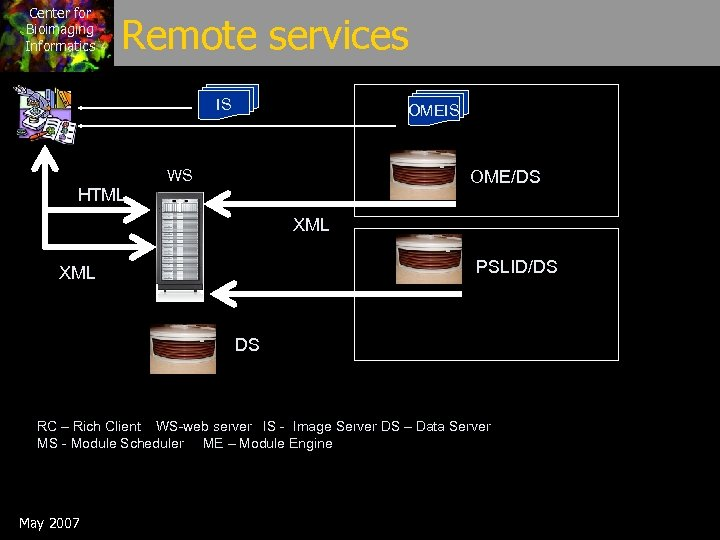Center for Bioimaging Informatics Remote services IS OMEIS WS OME/DS HTML XML PSLID/DS XML