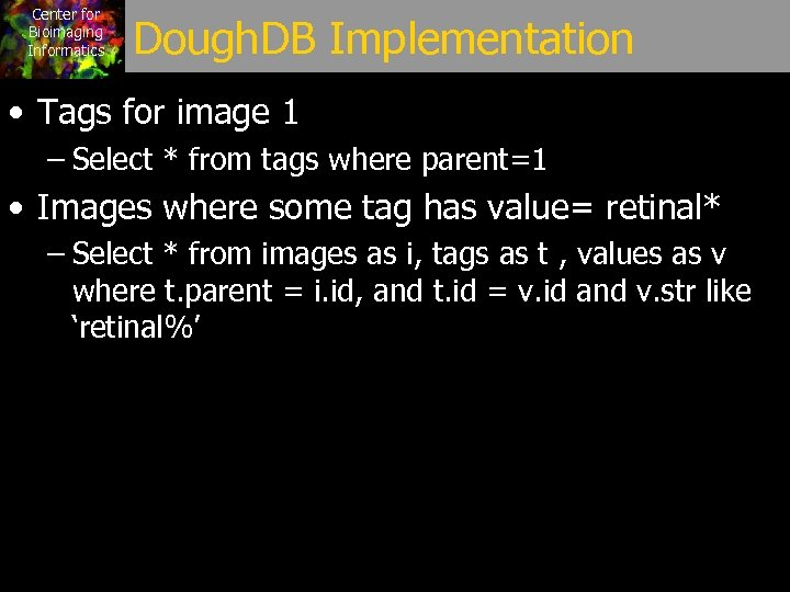Center for Bioimaging Informatics Dough. DB Implementation • Tags for image 1 – Select