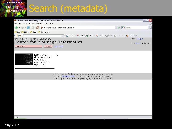 Center for Bioimaging Informatics May 2007 Search (metadata)