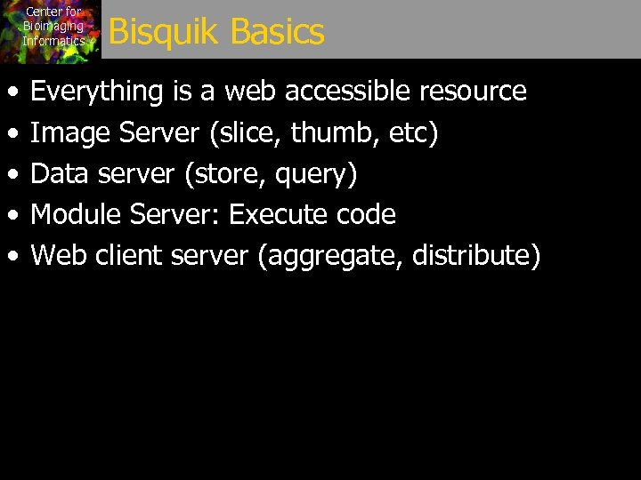 Center for Bioimaging Informatics • • • Bisquik Basics Everything is a web accessible