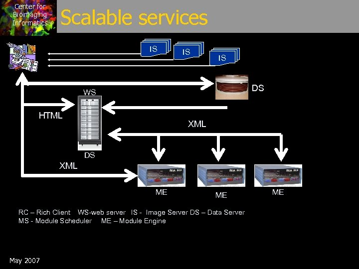 Center for Bioimaging Informatics Scalable services IS IS IS DS WS HTML XML DS