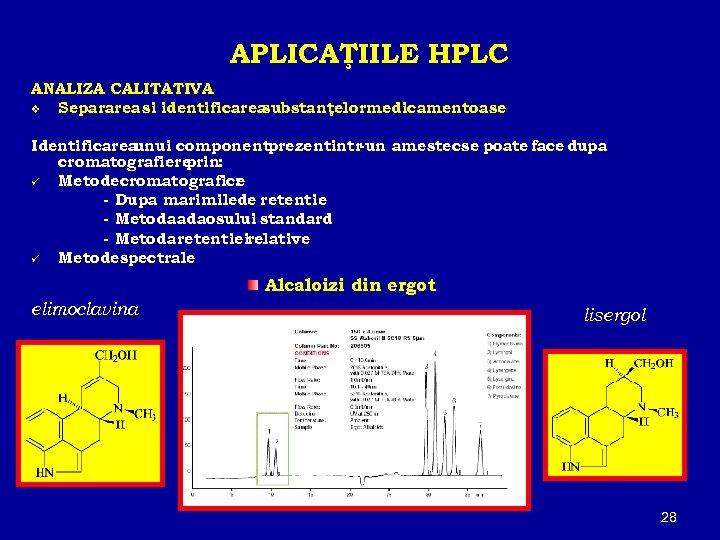 APLICAŢIILE HPLC ANALIZA CALITATIVA v Separarea si identificarea substanţelormedicamentoase Identificarea unui componentprezentintr-un amestecse poate