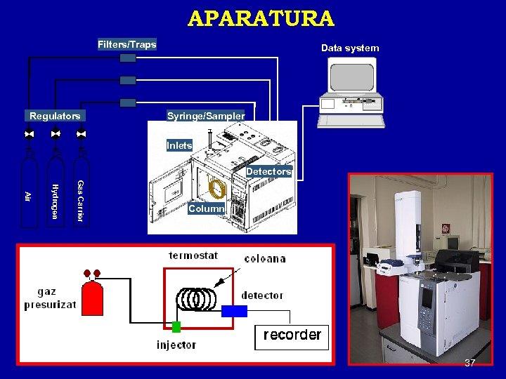 APARATURA Filters/Traps Data system H RESET Regulators Syringe/Sampler Inlets Detectors Gas Carrier Hydrogen Air