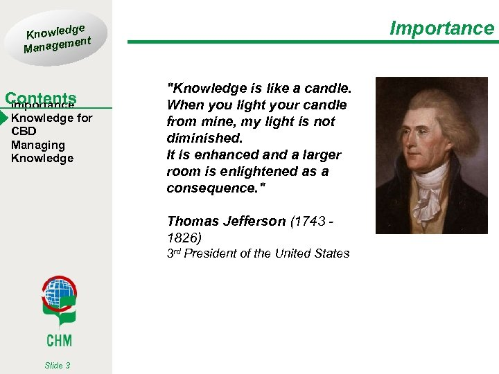 Importance ge Knowled t men Manage Contents Importance Knowledge for CBD Managing Knowledge