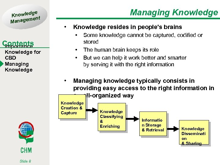ge Knowled t men Manage Managing Knowledge • Knowledge resides in people's brains •