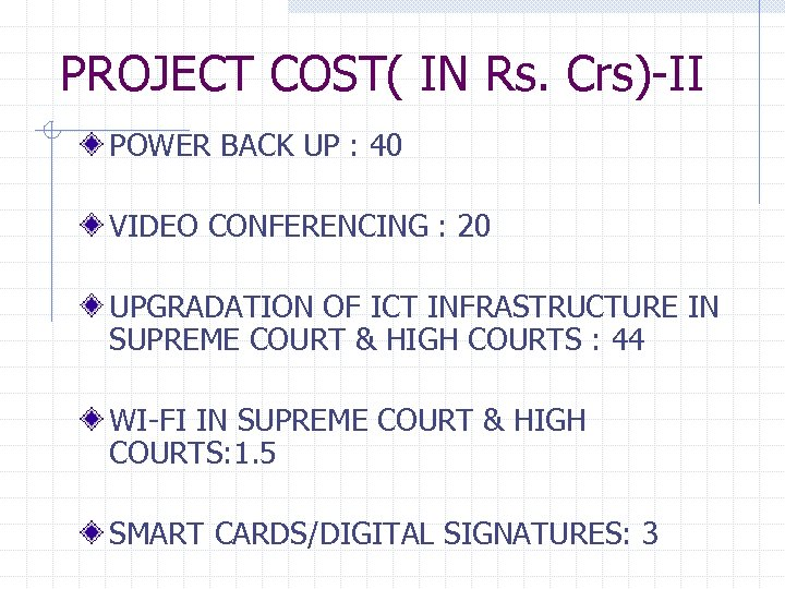 PROJECT COST( IN Rs. Crs)-II POWER BACK UP : 40 VIDEO CONFERENCING : 20