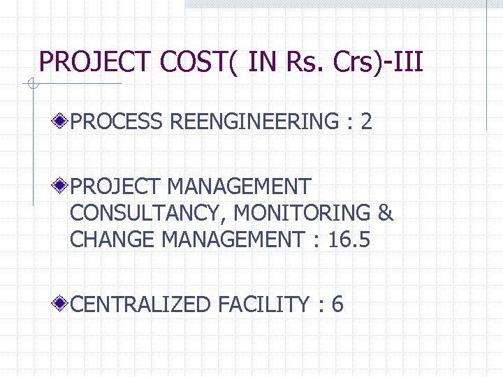 PROJECT COST( IN Rs. Crs)-III PROCESS REENGINEERING : 2 PROJECT MANAGEMENT CONSULTANCY, MONITORING &
