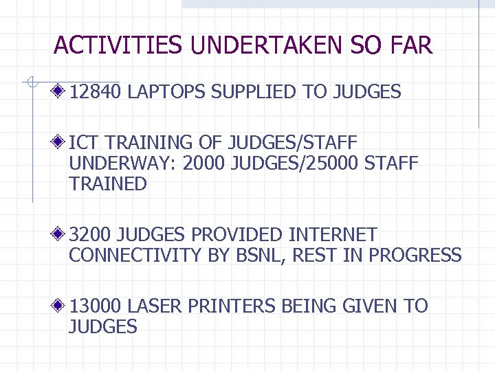 ACTIVITIES UNDERTAKEN SO FAR 12840 LAPTOPS SUPPLIED TO JUDGES ICT TRAINING OF JUDGES/STAFF UNDERWAY: