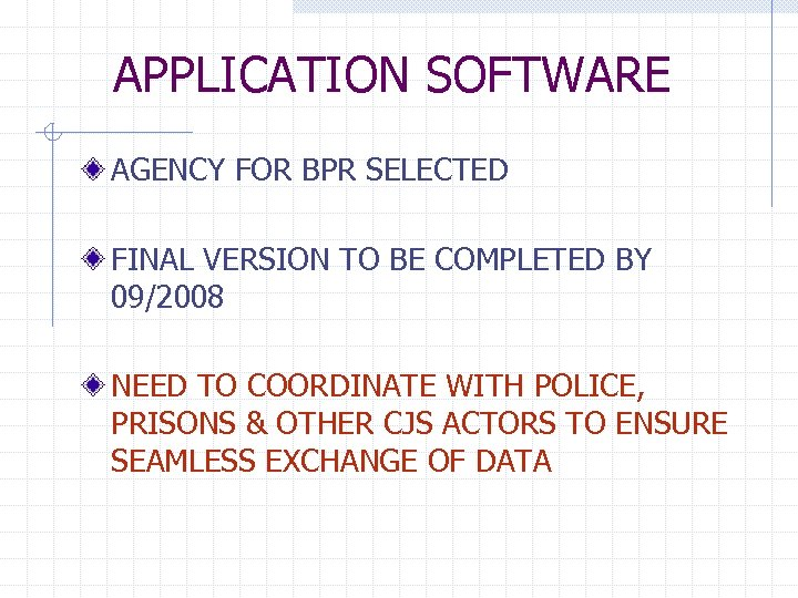 APPLICATION SOFTWARE AGENCY FOR BPR SELECTED FINAL VERSION TO BE COMPLETED BY 09/2008 NEED