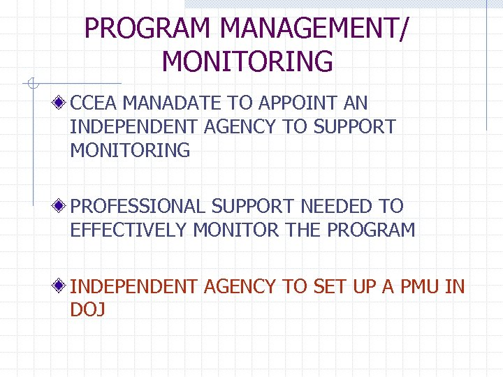 PROGRAM MANAGEMENT/ MONITORING CCEA MANADATE TO APPOINT AN INDEPENDENT AGENCY TO SUPPORT MONITORING PROFESSIONAL