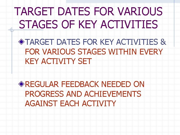 TARGET DATES FOR VARIOUS STAGES OF KEY ACTIVITIES TARGET DATES FOR KEY ACTIVITIES &