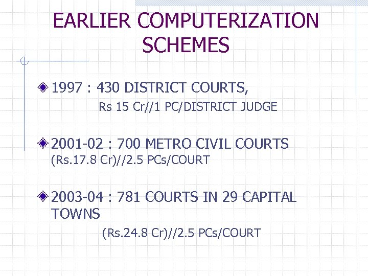 EARLIER COMPUTERIZATION SCHEMES 1997 : 430 DISTRICT COURTS, Rs 15 Cr//1 PC/DISTRICT JUDGE 2001