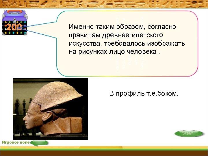 именно таким образом, согласно правилам древнеегипетского искусства, требовалось изображать на рисунках лицо человека 200