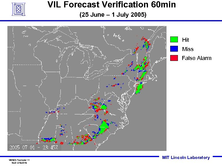 VIL Forecast Verification 60 min (25 June – 1 July 2005) Hit Miss False