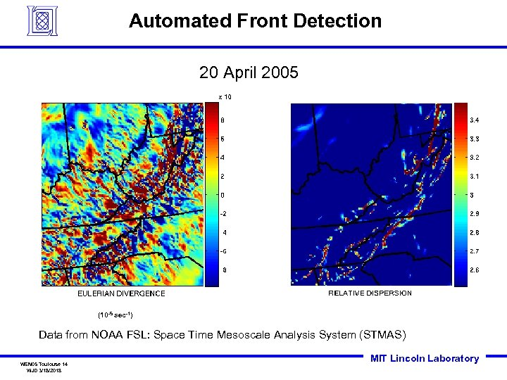 Automated Front Detection 20 April 2005 (10 -5 sec-1) Data from NOAA FSL: Space