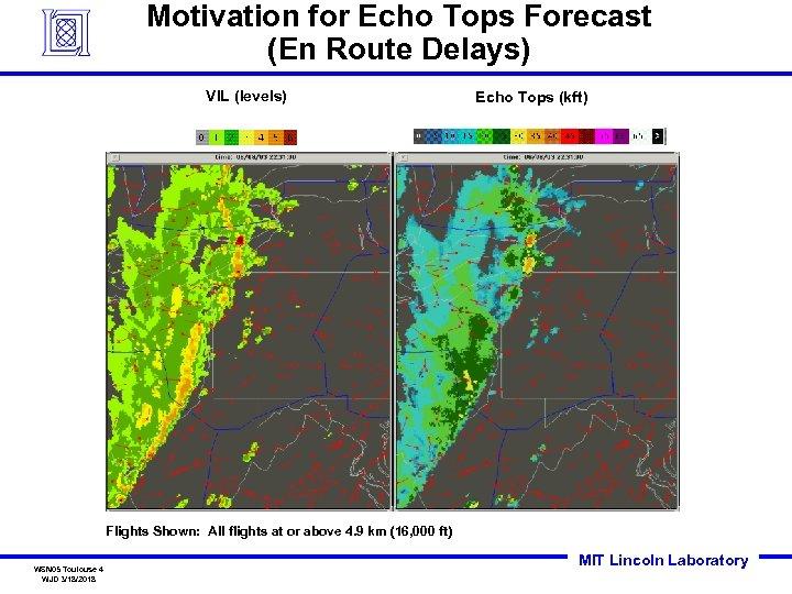 Motivation for Echo Tops Forecast (En Route Delays) VIL (levels) Echo Tops (kft) Flights