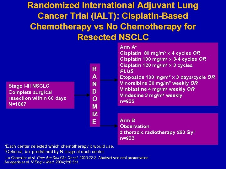 Randomized International Adjuvant Lung Cancer Trial (IALT): Cisplatin-Based Chemotherapy vs No Chemotherapy for Resected