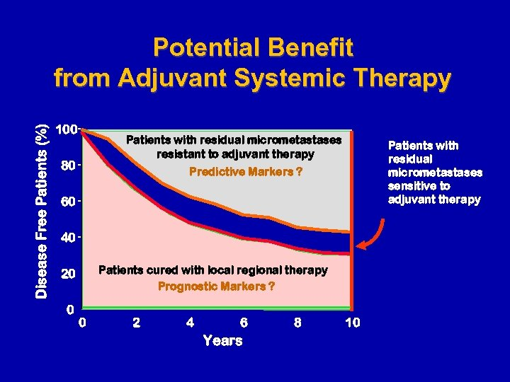 Disease Free Patients (%) Potential Benefit from Adjuvant Systemic Therapy 100 Patients with residual