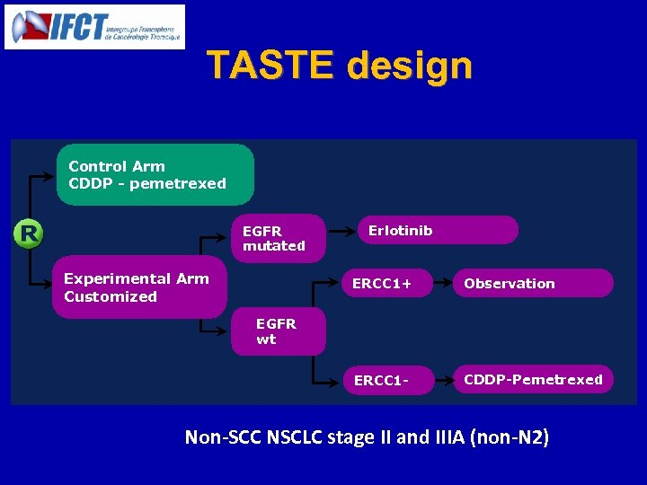 TASTE design Control Arm CDDP - pemetrexed EGFR mutated Experimental Arm Customized Erlotinib ERCC