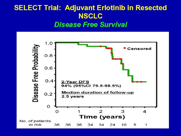 SELECT Trial: Adjuvant Erlotinib in Resected NSCLC Disease Free Survival