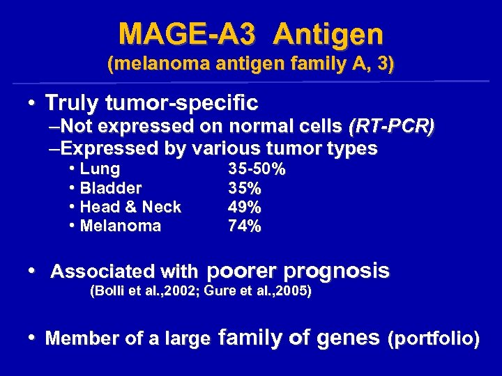 MAGE-A 3 Antigen (melanoma antigen family A, 3) • Truly tumor-specific –Not expressed on