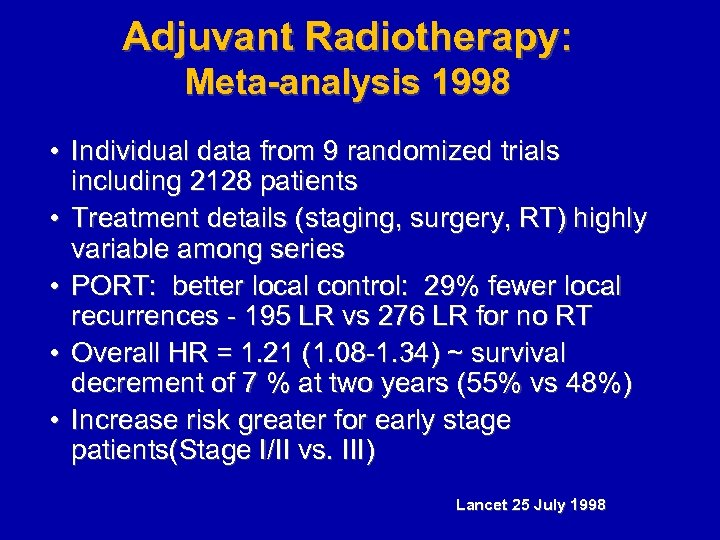 Adjuvant Radiotherapy: Meta-analysis 1998 • Individual data from 9 randomized trials including 2128 patients